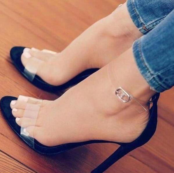ФОТО Summer hot selling transparent PVC patchwork high heel sandal open toe ankle strap thin heels sandal woman sexy cutouts sandal