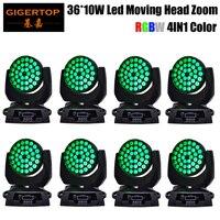 2017 Hot Sales 8 Packs 36 x 10 Watt RGBW Pro Quad Color Led Zoom Moving Head Light Stage Wall Washing DJ Equipment Smooth Zoom