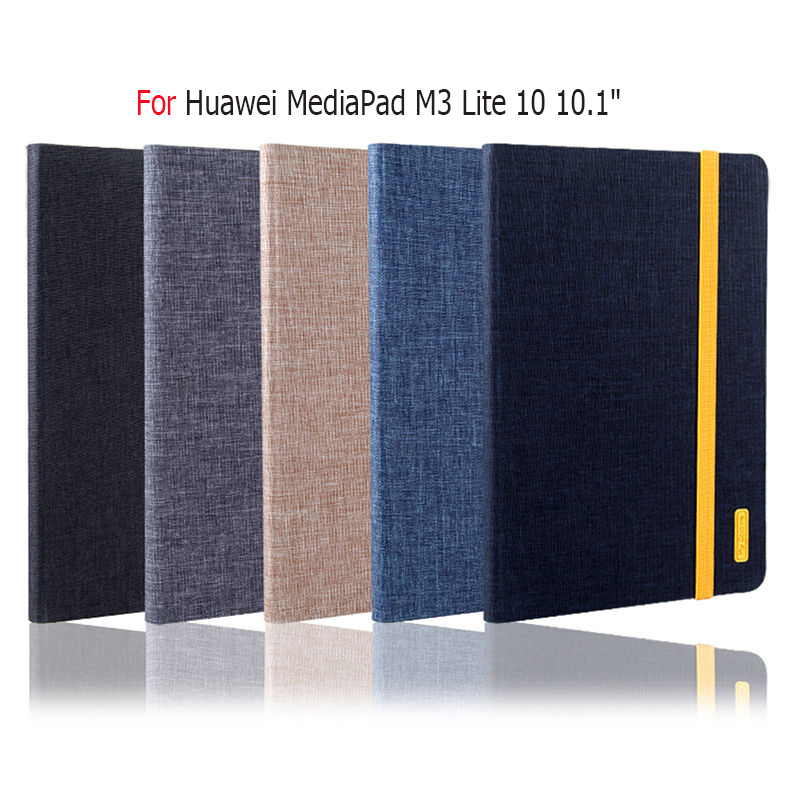 Silicon+Cloth PU Leather Case For Huawei MediaPad M3 Lite 10 10.1 inch BAH-W09 BAH-AL00 Smart Cover Funda Tablet Auto Sleep Wake ultra slim magnetic stand leather case cover for huawei mediapad m3 lite 8 0 cpn w09 cpn al00 8tablet case with auto sleep