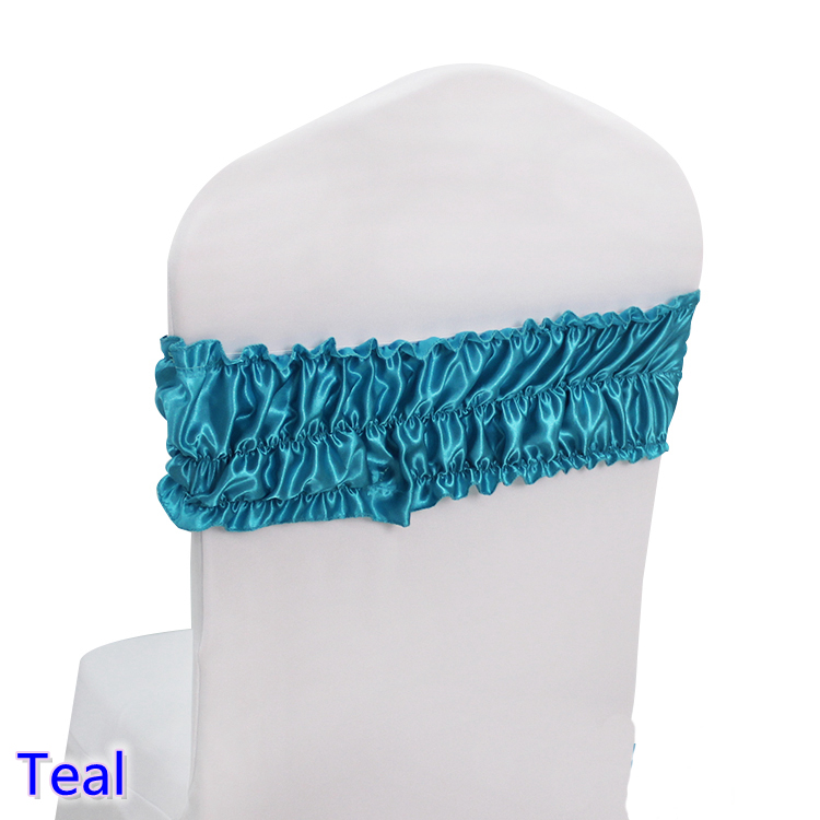 Teal color sash wedding chair sash ruffled spandex sash for chair covers fit for all chairs for wedding,banquet,party decoration