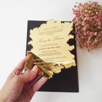 Sample Order For 5 7inch Vintage Leaf Shape Golden Mirror Acrylic Wedding Invitation Card