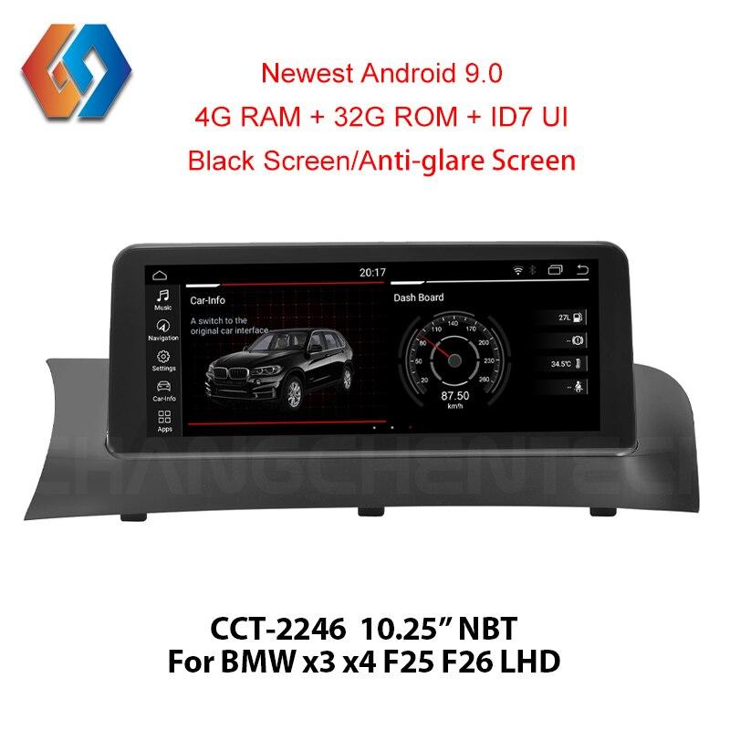 GPS Navigation Android 9.0 4G ram pour BMW X3 F25 X4 F26 NBT voiture multimédia BT WiFi Support DVR caméra arrière TV Aux gros panneaux tactiles 46