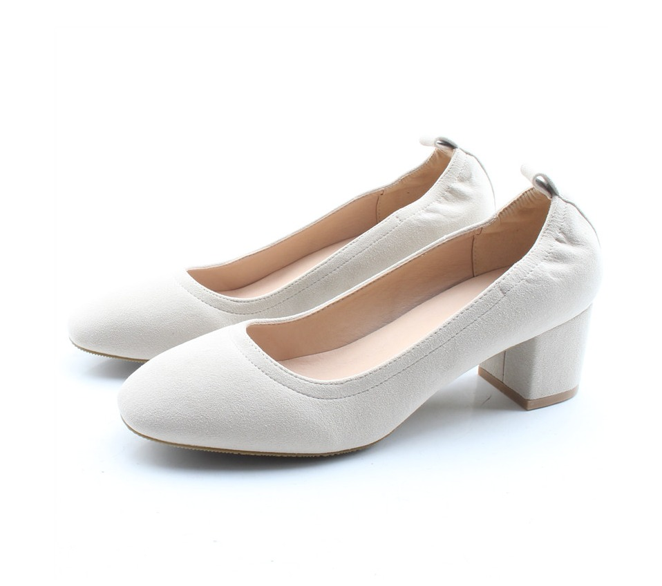 Shoes Women Genuine Leather Fashion Office and Career Rounded Toe 2-inch Block Heel Fashion Office Lady Pumps Size 34-41, K-307 68