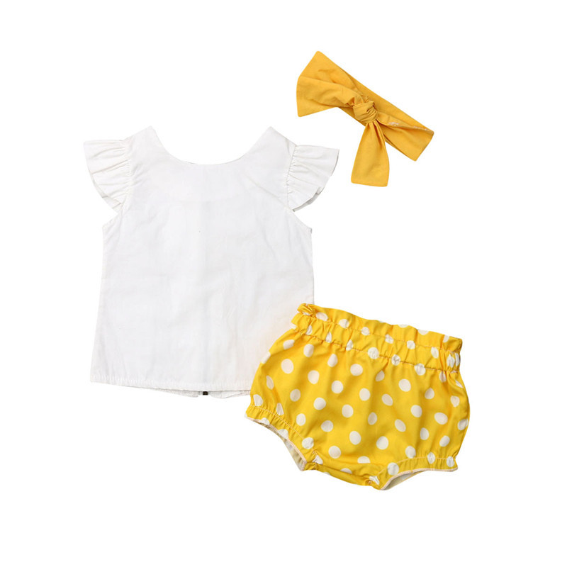 Baby Girl Summer Clothes Newborn Short Sleeve Top Pants Toddler Polka Dots Straple Outfit Set 2PCs