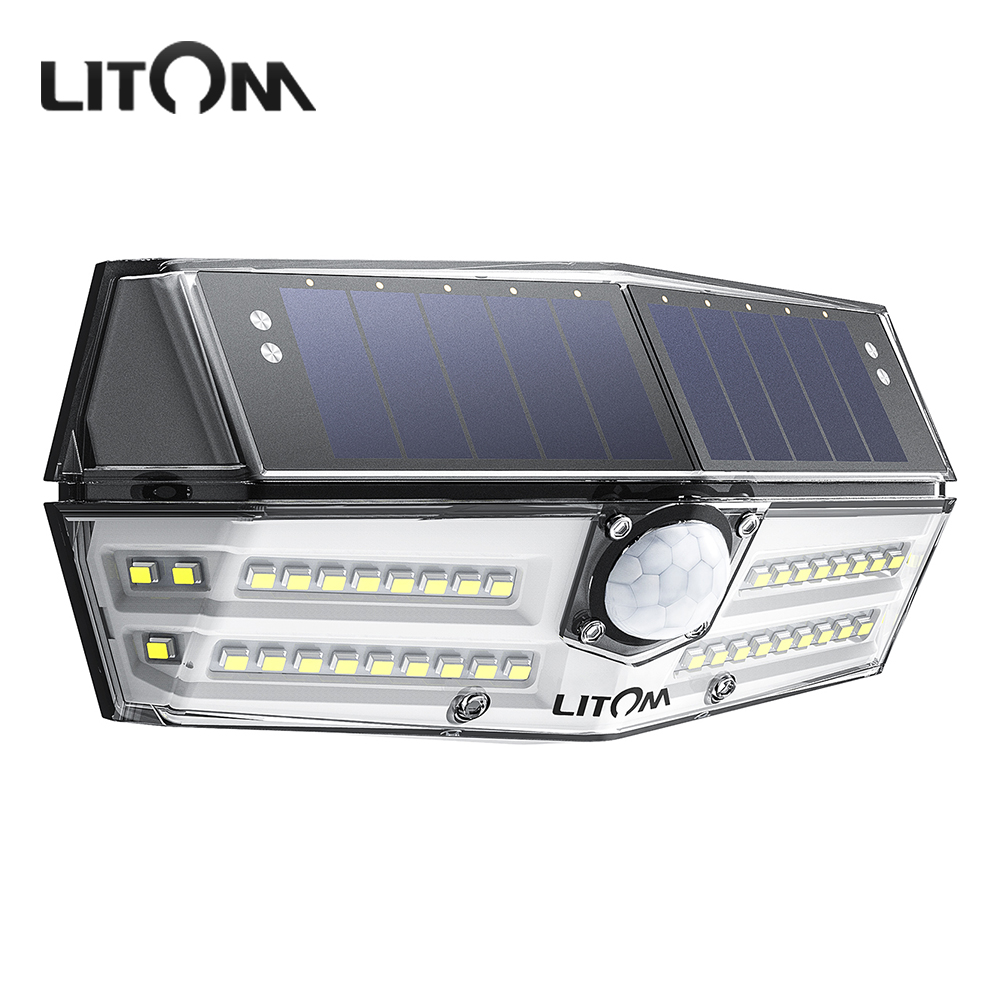 Litom CD181 Solar Powered Outdoor Lights 40 LED IP66 Waterproof Lamps With 3 Adjustable Light Models For Garden Yard Patio WallLitom CD181 Solar Powered Outdoor Lights 40 LED IP66 Waterproof Lamps With 3 Adjustable Light Models For Garden Yard Patio Wall