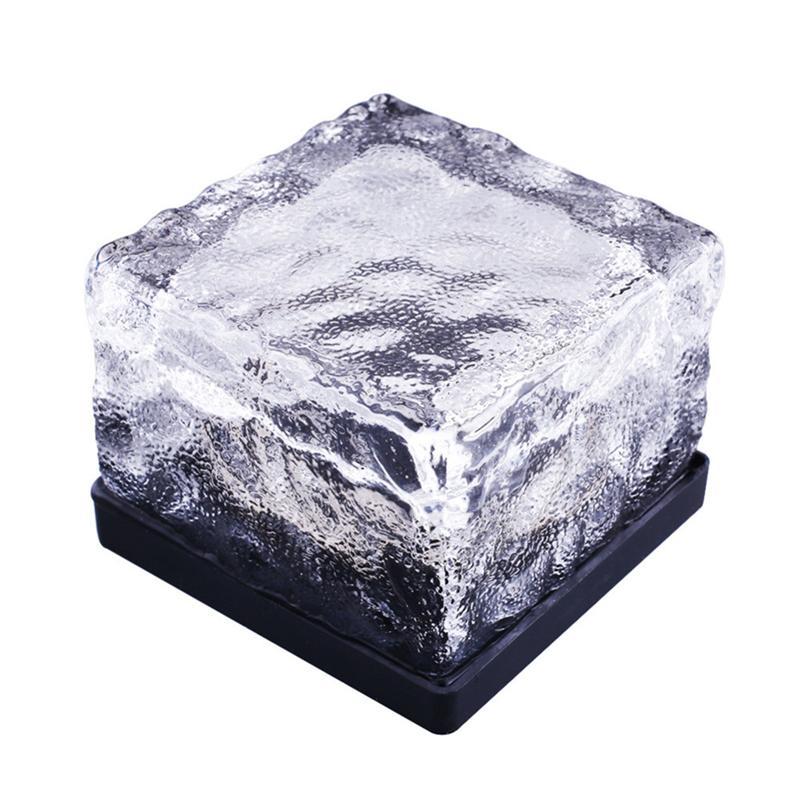 Водонепроницаемый Солнечный Путь Ice Cube Rocks светодиодный матовый Стекло кирпич асфальтоукладчик сад в groud Похоронен Свет (синий)