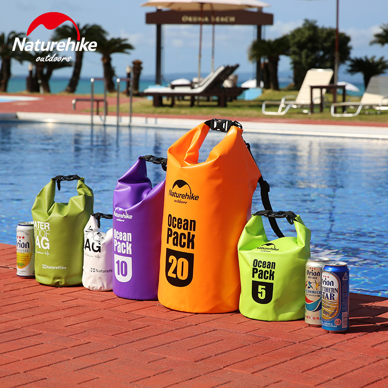 Naturehike 5L 10L Dry Bag Outdoor Travel Waterproof River Fold Swimming Bag Drifting Beach Clothes Mobile Phone Storage Bags