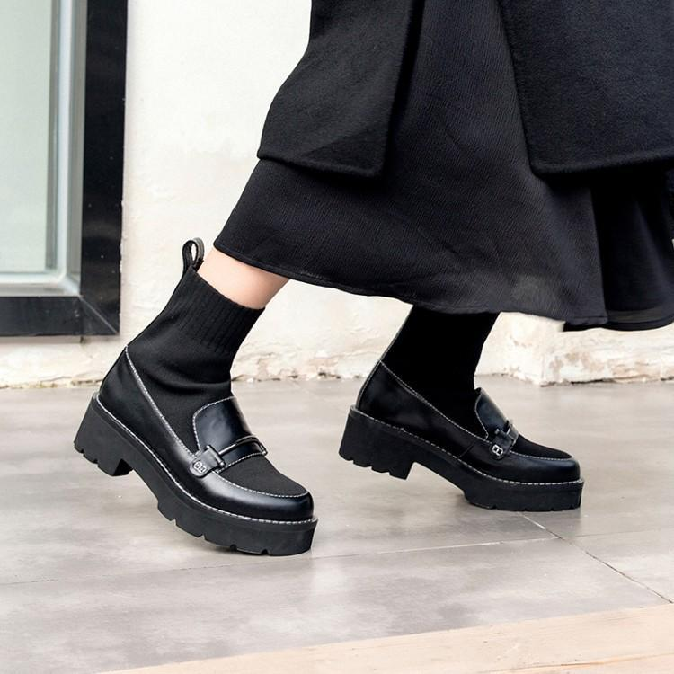 f19ec2c60706 Chaude Femmes De Chaussures forme Mode Mujer Sur Botas Les Hiver Bottes As  Cheville Chunky Talons Noir Plate Stretch Show Glissement ...