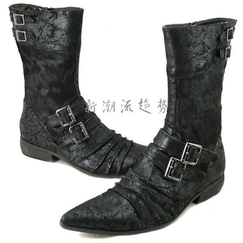 Choudory плюс размер мода колено высокие черные/белые мужские сапоги Мотоцикла сапоги из натуральной кожи мужские зимние ботинки с пряжкой