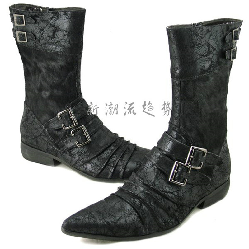 Choudory plus size fashion knee high black / white mens boots Motorcycle boots genuine leather mens winter boots with buckle