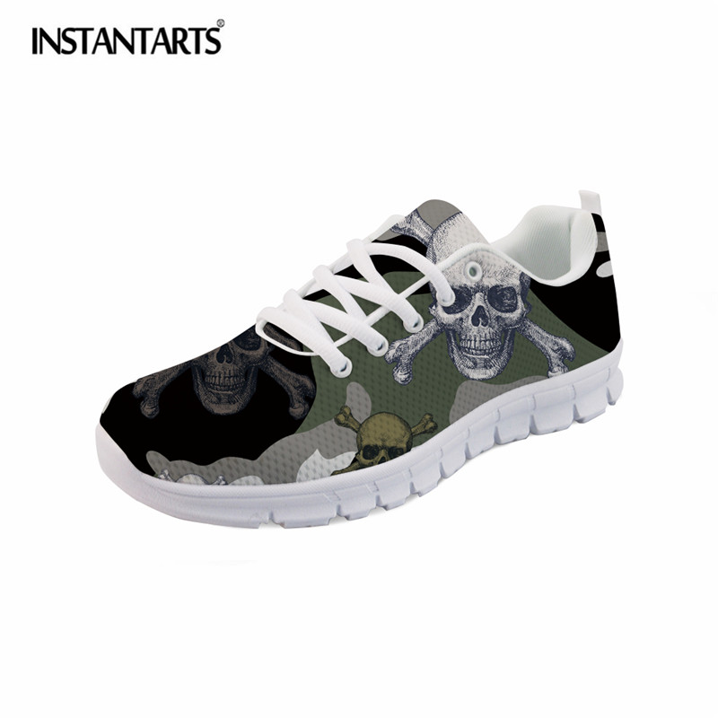 INSTANTARTS Camouflage Skulls Printed Men Casual Shoes Summer Mesh Sneaker Shoes for Boys Student Breathable Lace Up Flat Shoes spring summer casual mesh shoes lovers flat shoes lace up breathable footwear female vintage sneaker trainers sapatos masculino
