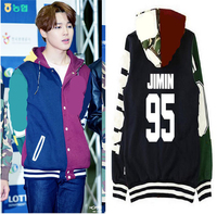 Kpop BTS JIMIN Baseball Uniform Cotton Hoodie Coat With Hat BTS Bangtan Boys JIMIN Hoodies Men