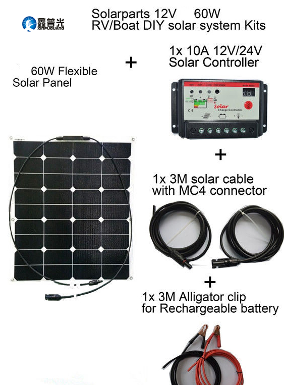 Xinpuguang 2pcs 60W 20V ETFE flexible smooth surface solar panel system DIY Kits +10A controller+ 3M MC4 cable cilp for RV boat
