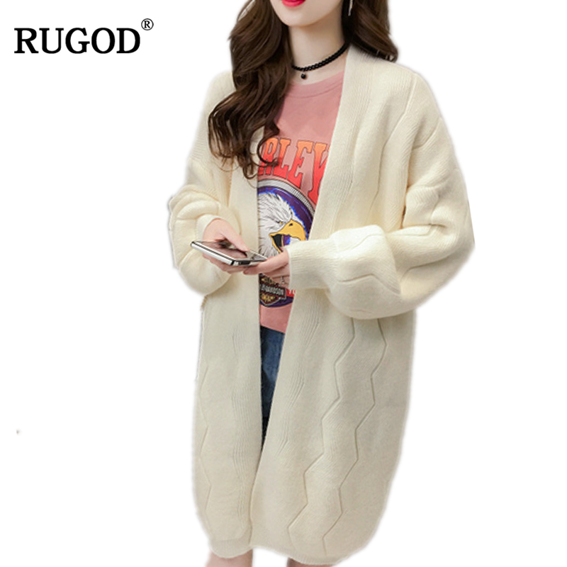 RUGOD 2018 New Autumn Winter Long Cardigan Women Knitted Jacket 2018 Casual Loose Long Sleeve Cashmere Sweater Female Cardigan