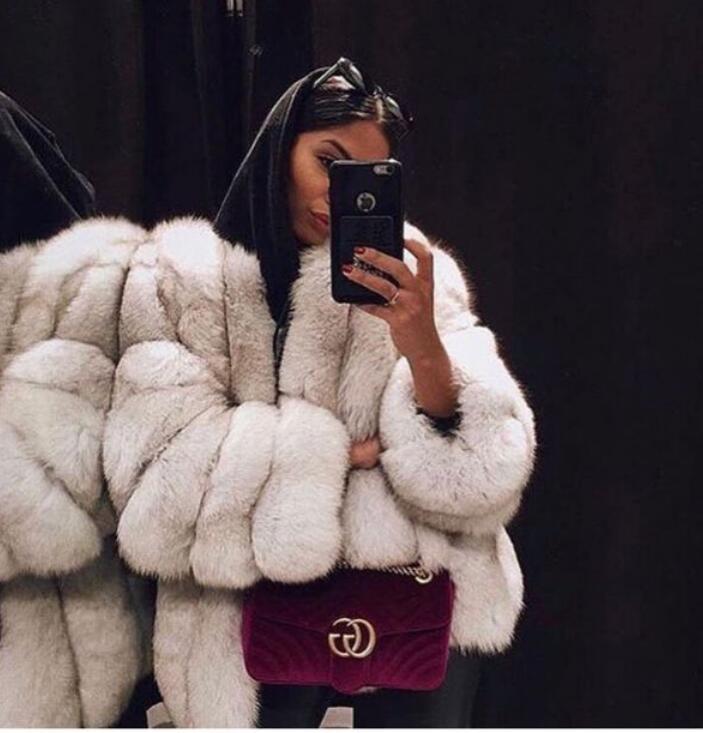 Nouveau 2019 charmante Femme De Luxe Naturel fourrure de renard manteaux et vestes épaissir verticale oanels attrayant hiver Vraie fourrure manteaux