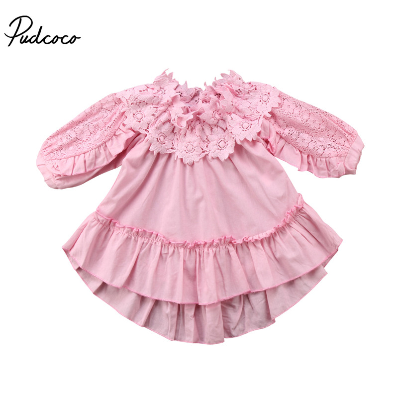 New Style Kids Baby Girls Dress Off Shoulder Dress Princess Ball Gown Party Long Sleeve  ...