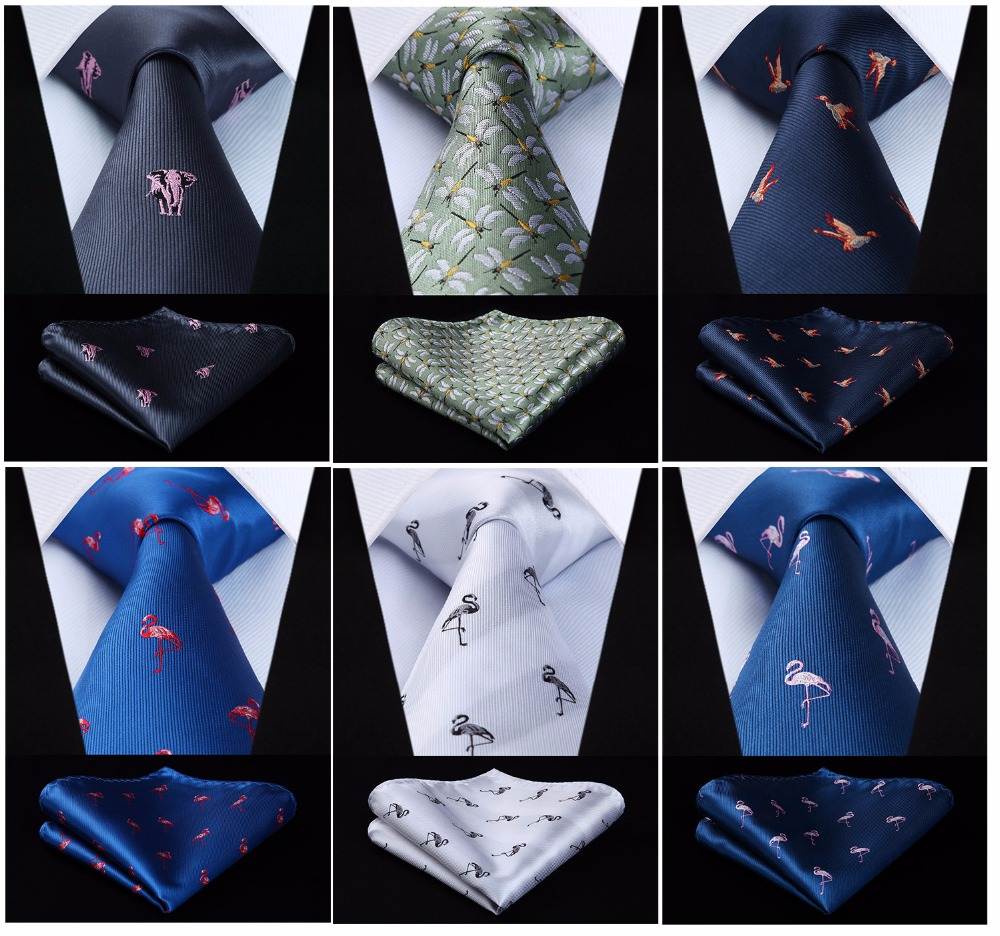 HISDERN Fashion Woven Classic Men Tie Necktie  Classic Animals 3.4