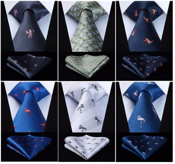 HISDERN Fashion Woven Classic Men Tie Necktie  Classic Animals 3.4″ Silk Tie Pocket Square Party Wedding Handkerchief Set