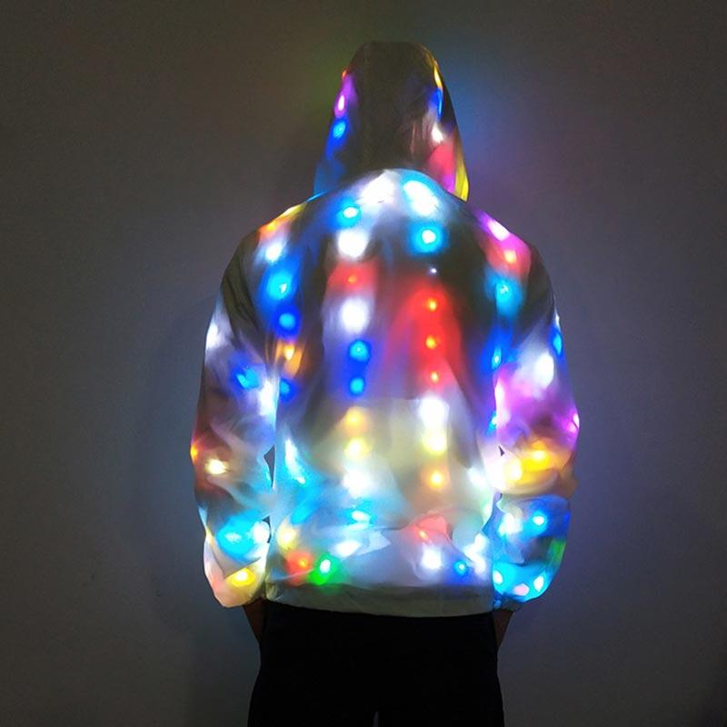 New Fashion Men Women Unisex DJ shine shiny white sunscreen clothing High quality LED lantern couple