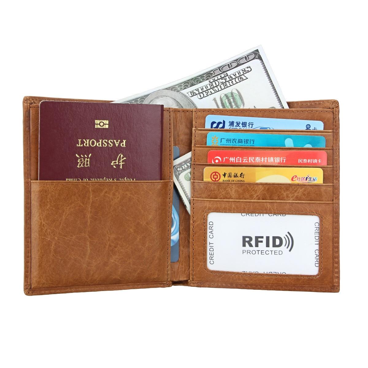 Passport holder Genuine Leather business card holder multifunction Business card wallet Unisex package id card holder