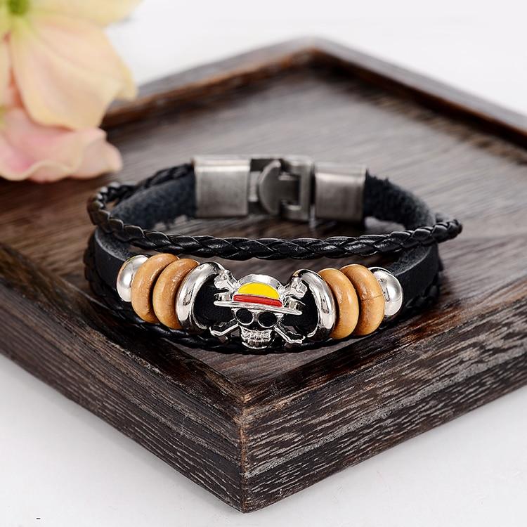 Anime One Piece Leather Bracelet Bangle   Handmade