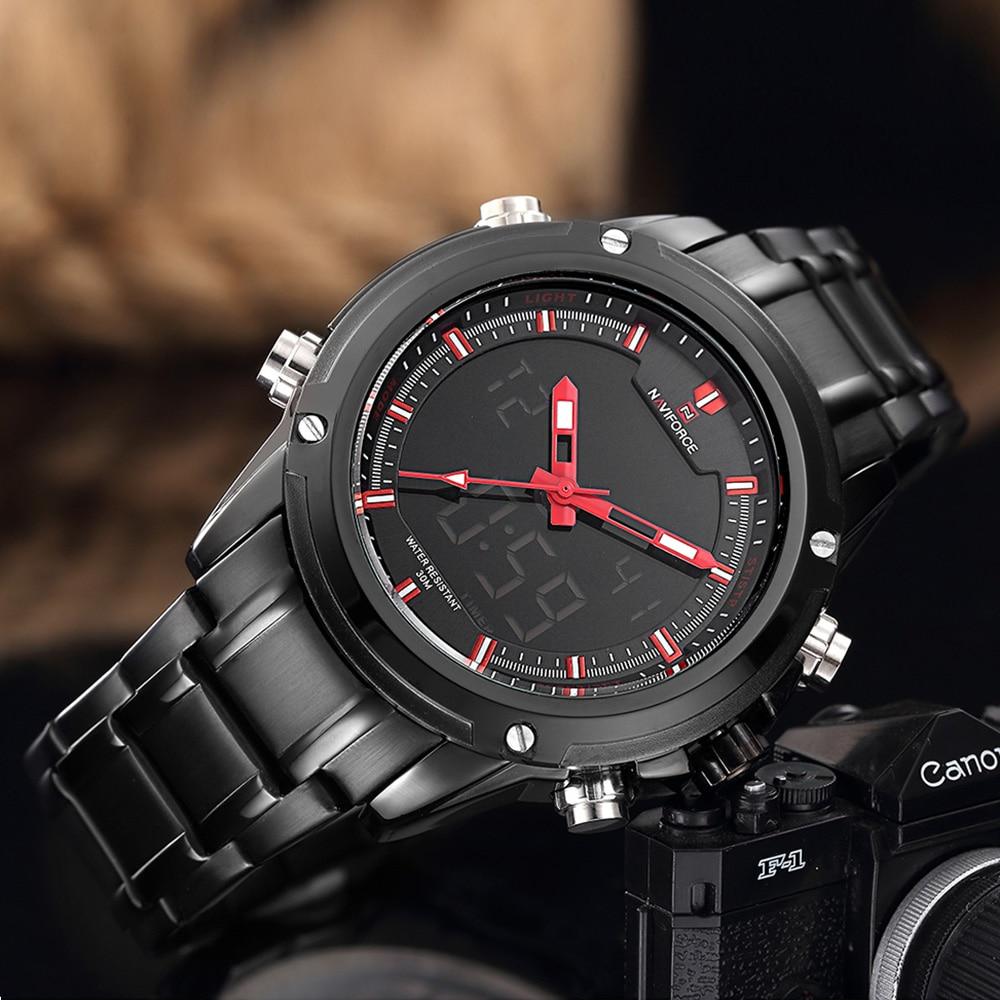 Top Luxury Brand NAVIFORCE Men Military Wodoodporny LED Zegarki - Męskie zegarki - Zdjęcie 3