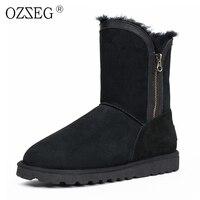 OZZEG Female winter genuine leather natural sheepskin fur real australia wool ankle Eskimo shoe women snow boots bearpaw emu ug