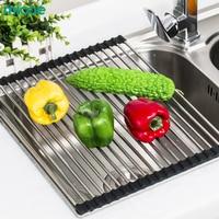 MICOE Stainless steel drain basket kitchen shelf foldable drain roller blind