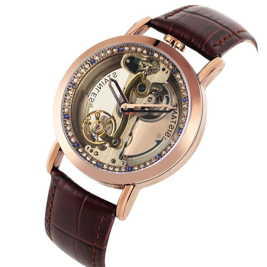 Shenhua 남자 시계 로즈 골드 투명 해골 망 시계 자동 시계 정품 가죽 손목 시계 캐주얼 남성 시계-에서기계식 시계부터 시계 의  그룹 1