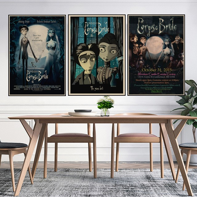Us 1 58 Tim Burton Movie Posters Corpse Bride Vintage Retro Matte Kraft Paper Antique Poster Wall Sticker Home Decor Decorations A2 In