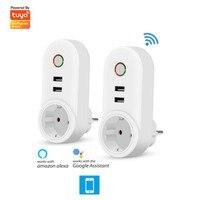 Wi-Fi Smart EU Plug outlet беспроводной с 2 usb-разъемом Wi-Fi пульт дистанционного управления Переключатель синхронизации Outlet таймер питания домашние уст...