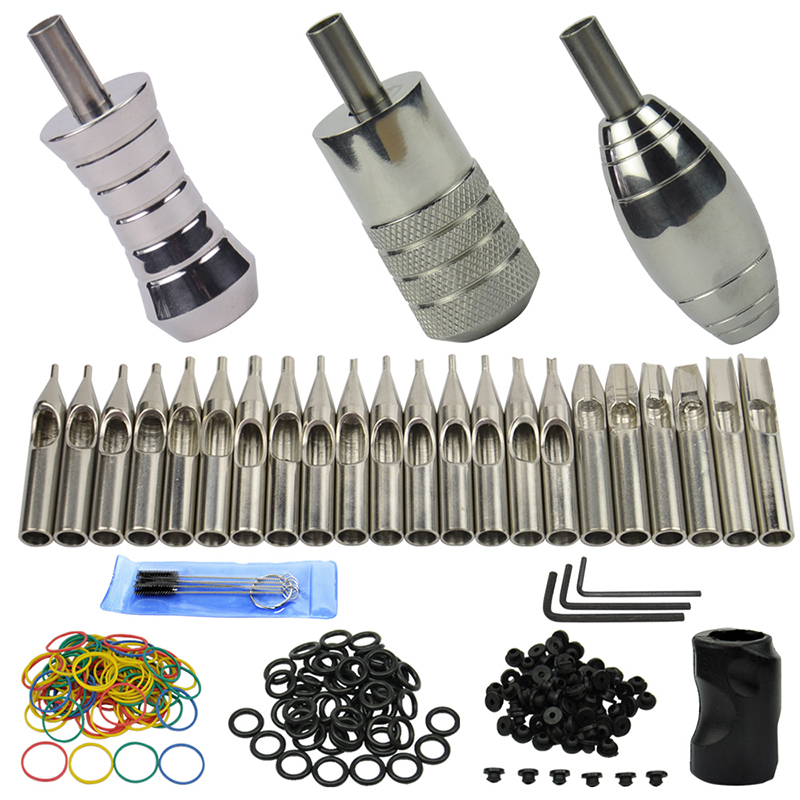 OPHIR Pro 3pcs Stainless Steel Tattoo Grip & 22pcs Tattoo Tube Tips 50x O Rings 100x Rubber Bands for Tattoo Gun Supply _TA066
