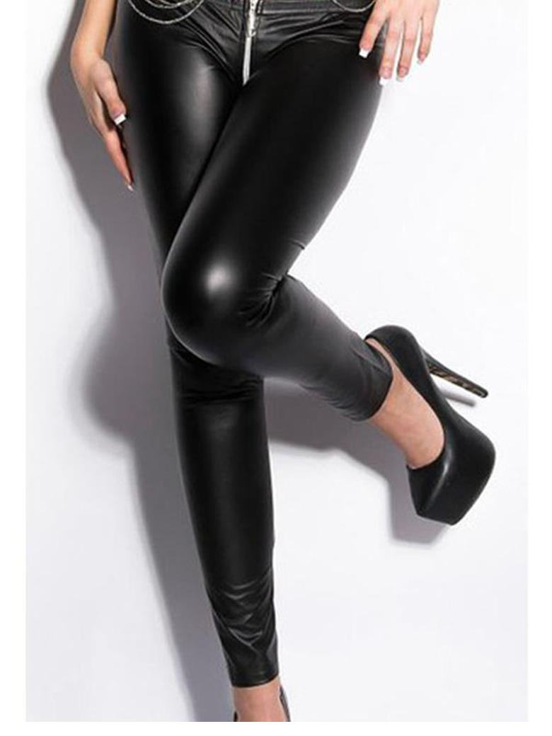 Black New Arrival Zipper to Crotch Pants Women Sexy Zipper Vinyl Leather Leggings Sexy Women High Quality Casual Pants WT9047