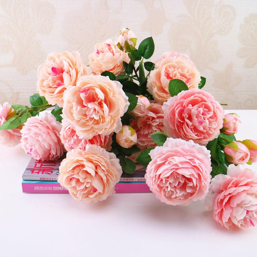3 Heads Silk flower wedding bouquet rose dahlias Artificial flowers ...
