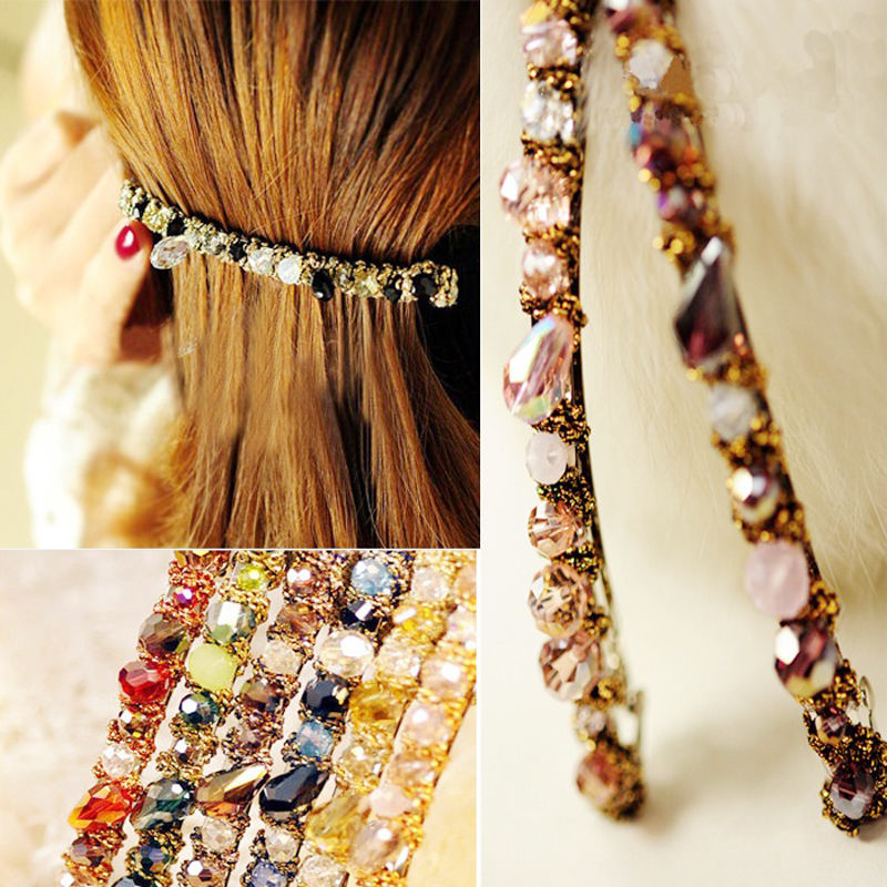 1PC Fashion Women Girl Korean Fashion Crystal Rhinestone Barrette Hairpins Clips Headwear Hair Band Accessories women girl bohemia bridal camellias hairband combs barrette wedding decoration hair accessories beach headwear