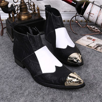 Ankle Boots Poited Toe Men Shoes Mixed Color Genuine Leather Metal Toe Decoration Square Heels Wedding