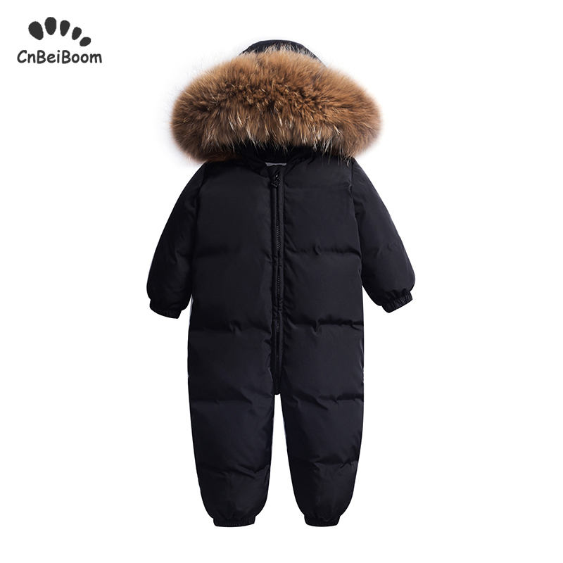 Winter warm baby rompers Jumpsuit Children duck down overalls Snowsuit toddler kids boys girls fur hooded romper costume clothes|Down & Parkas| |  - title=