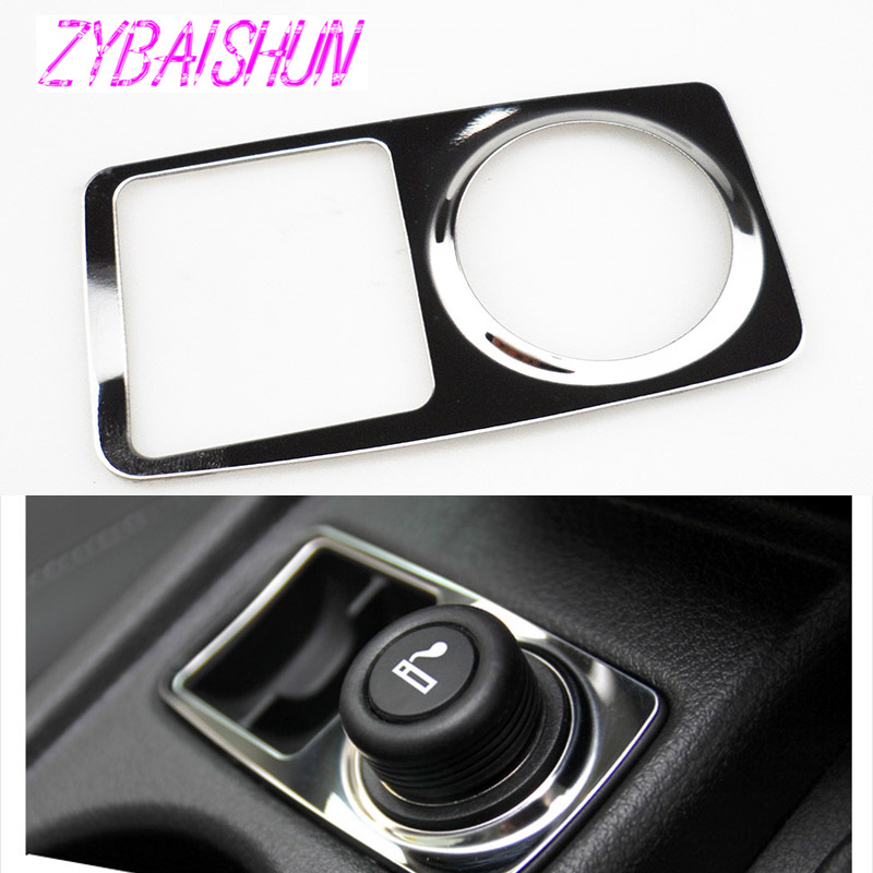 ZYBAISHUN Car Stickers Stainless Steel Cigarette Lighter Pullup Decoration For Ford Focus 3 MK3 2012 Accessories