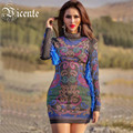 Free Shipping! 2017 New Fashion Runway Inspired Geometic Beads Tassels Long Sleeves Wholesale Women Party Bandage Dress
