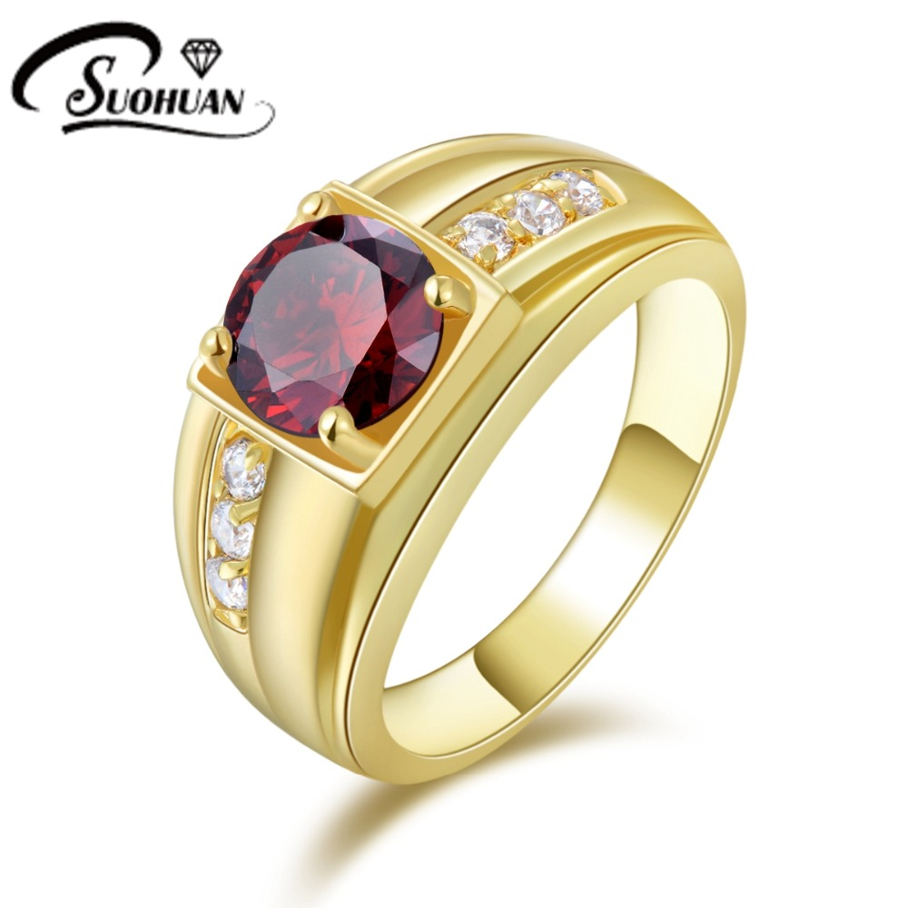 2017 Fashion New red Garnet Male Jewelry tendy AAA zirconia stone ...