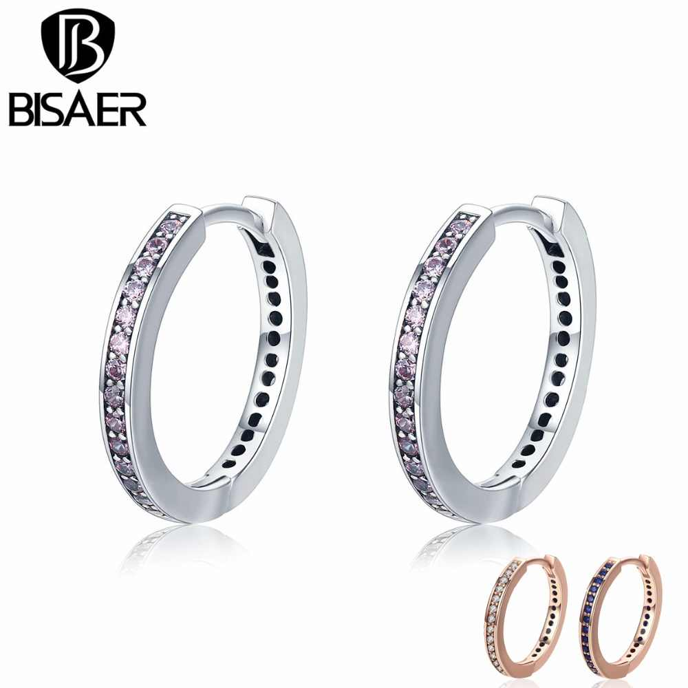 BISAER 100% 925 Sterling Silver 4 Color Luminous Clear CZ Classic Round Hoop Earrings for Women Silver Earrings Jewelry Brincos