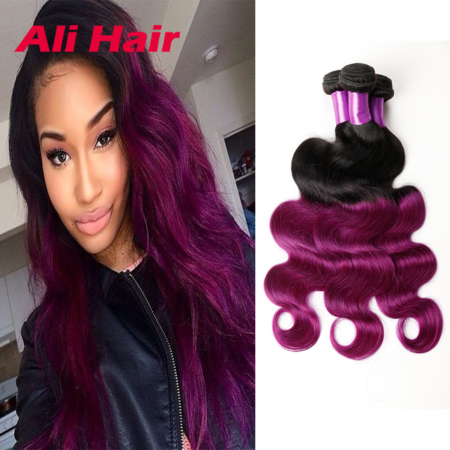7a Ombre Malaysian Hair Body Wave Two Tone Color Purple Malaysian