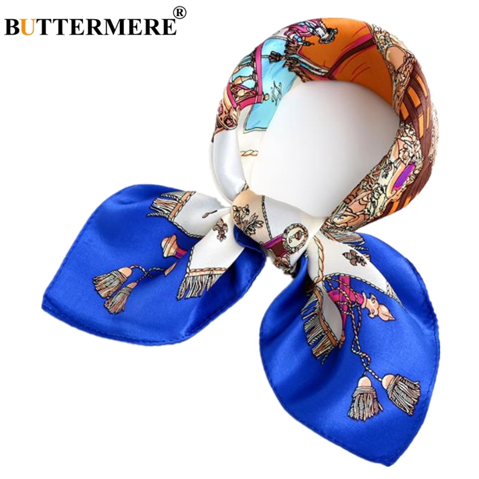 BUTTERMERE 100% Real Silk Scarves For Women Carriage Print Brand Blue Ladies Pure Scarf Square Female Small Neckerchief
