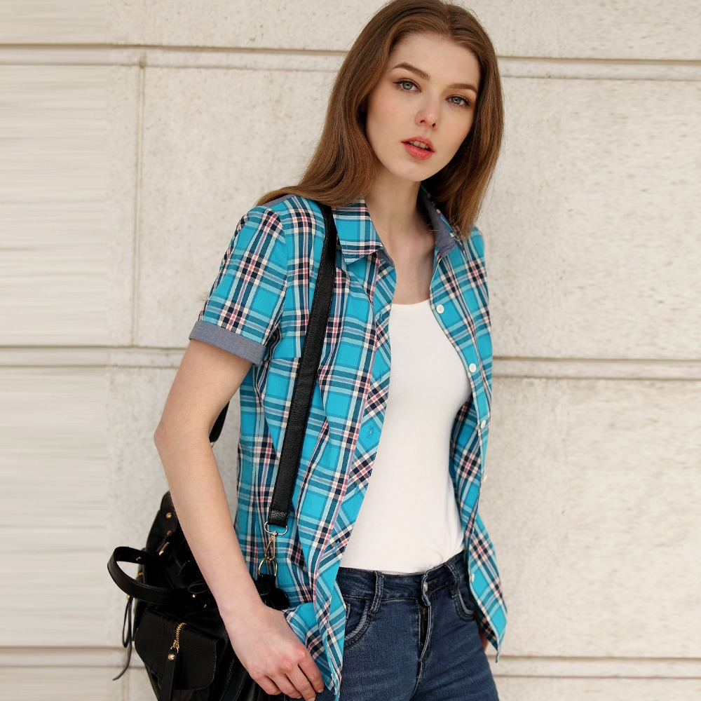 Short sleeve plaid shirts womens custom shirt Short sleeve plaid shirts