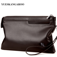 YUES KANGAROO Brand Business Men High Capacity Wallets PU Leather Cell Phone Clutch Clutch Bag Purse
