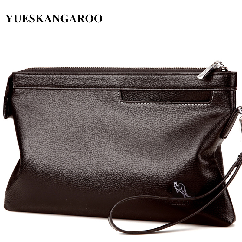 YUES KANGAROO Brand Business Men High Capacity Wallets PU Leather Cell Phone Clutch Clutch Bag Purse Hand Bag Top Zipper Wallet top brand genuine leather wallets for men women large capacity zipper clutch purses cell phone passport card holders notecase