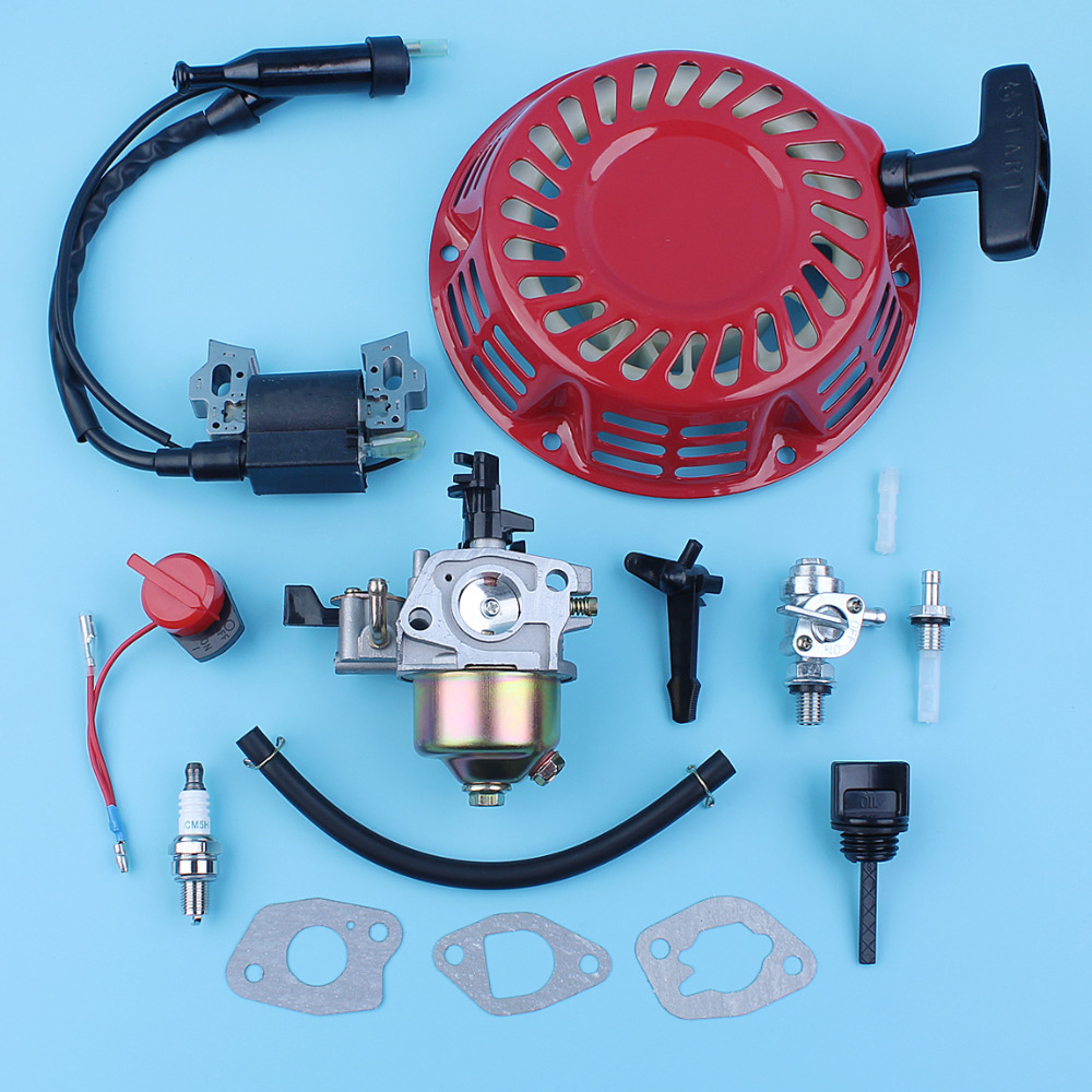 Carburetor Ignition Coil Starter On/Off Switch Choke Rod Kit For Honda GX160 5.5HP GX200 6.5HP 168F 170F Generator Water Pump recoil starter curved steel rod rachnet for honda gx160 gx200 4 cycle 163cc 196c water pump scarifier pull start assembly