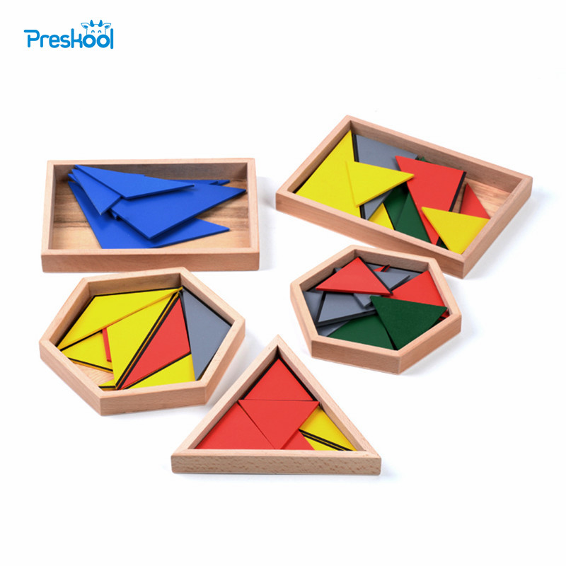 Family Version Baby Toy Montessori Constructive Triangles With 5 Boxes Early Childhood Education Preschool Training Toys montessori math toys montessori materials preschool geometry constructive triangles color equilateral triangle ud2065h