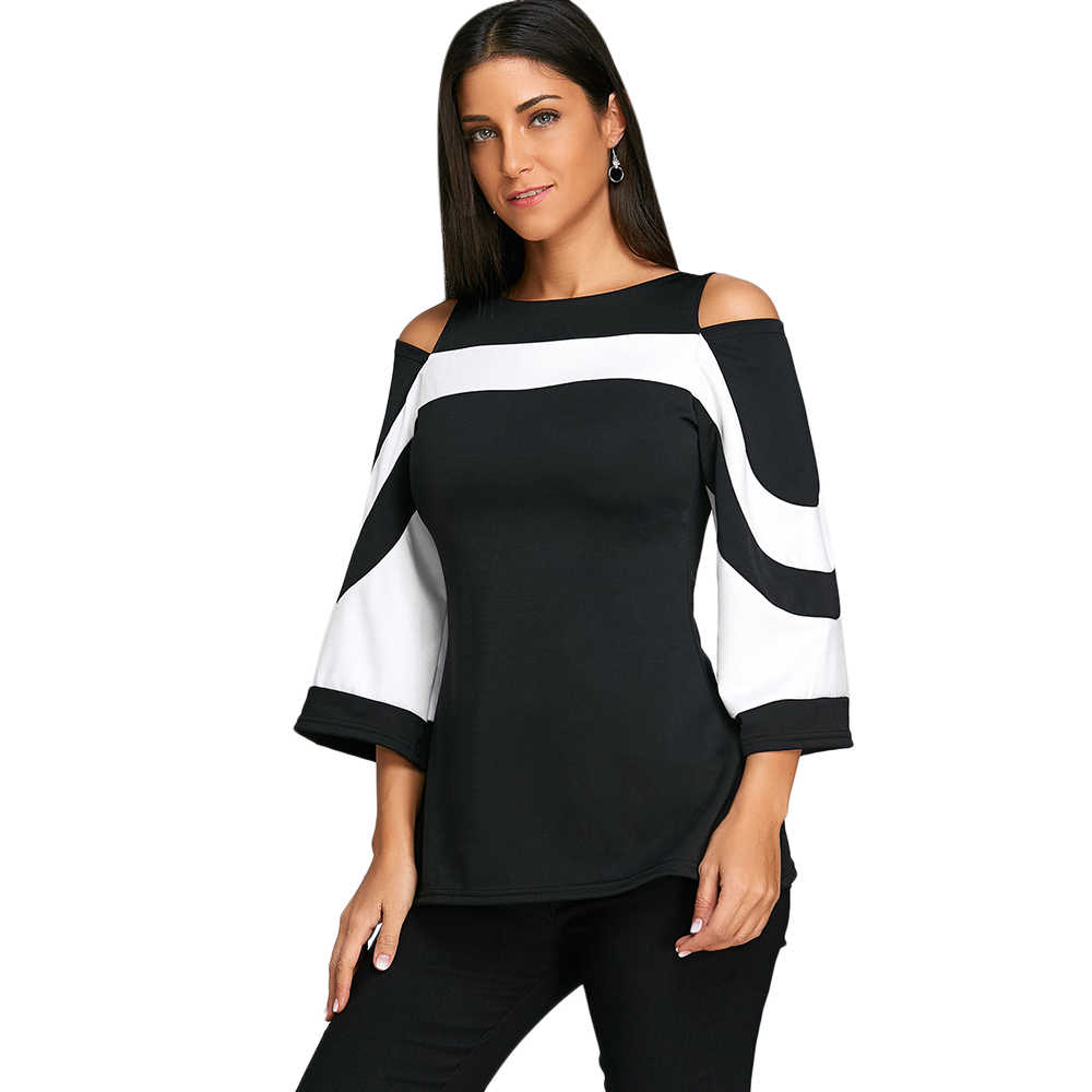 9046cc081e2 Gamiss Women Blouses Flare Sleeve Cold Shoulder Two Tone Women Casual Boat  Neck Three Quarter Blouse