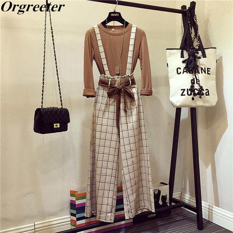2019 Spring Autumn New Casual Two Piece Set Long Sleeve Solid Basic T-Shirt + High Waist Plaid Bow Tie Up Wide Leg Pants Sets